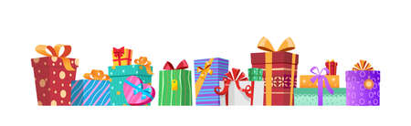Horizontal composition of multicolored gift boxes with ribbons and bows