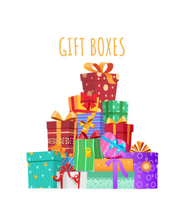 Big mountain of gifts. Multicolored gift boxes with ribbons and bows