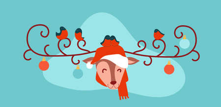 Christmas merry deer in santa claus hat. Bullfinches sit on curly deer antlers.