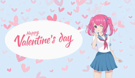 Anime manga schoolgirl in a sailor suit send air kisses. Valentine's day card. Vector illustration