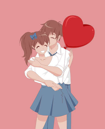 Anime manga girl and guy hugging. A couple in love holds a heart-shaped balloon. Vector illustration. Valentines day card