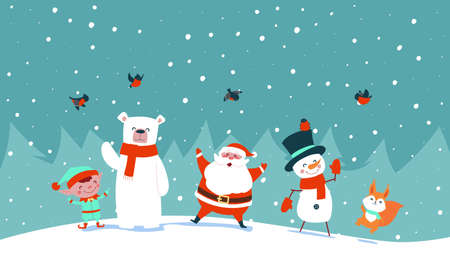 New Year card. Santa claus with forest animals rejoice and wave his hands