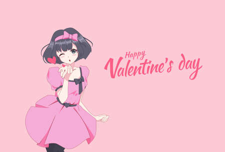 Anime manga girl blows a kiss in a dynamic pose. Valentines day card. Vector illustration