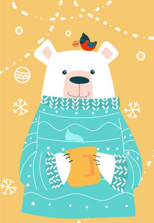 Polar bear in sweater and warm cup. Christmas card