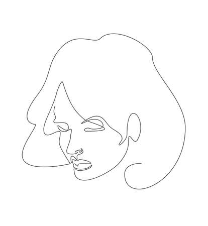 Woman face drawn in black continuous line. One line drawing continuous girl portrait. Vector illustration