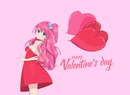 Anime manga girl in a light dress holds heart-shaped balloons. Valentines day card. Vector illustration 矢量图像