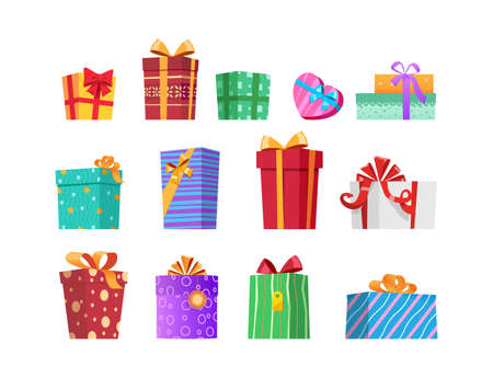 Set of isolated gifts. Multicolored gift boxes with ribbons and bows