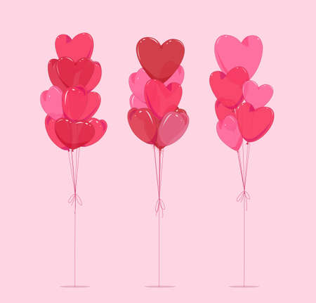 Set of bouquets of balloons in the form of a heart on an isolated background. Vector illustration