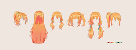 Anime manga hairstyles. Isolated redhead hair set