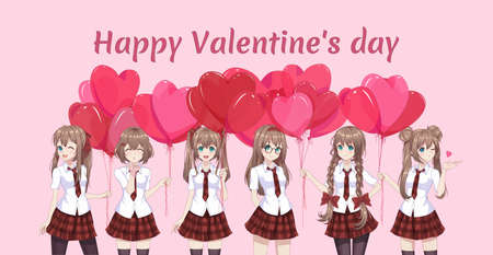 Anime manga girls in a red skirt and white blouse are holding heart-shaped balloons. Vector illustration. Valentine's day card