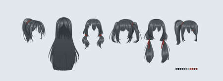 Anime manga hairstyles. Isolated black hair set