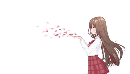 Anime manga girl in a skirt and blouse with long hair, blowing a kiss. Side view. Copy space, place for text on white isolated background. Vector illustration
