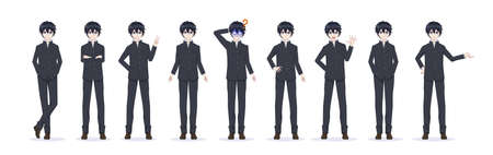 Anime manga boy in full-length black school uniform. Various poses and emotions. Vector illustration