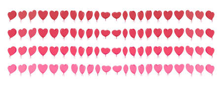 Big set of isolated red pink heart-shaped balloons 矢量图像