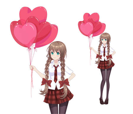 Anime manga girl in a red skirt and white blouse are holding heart-shaped balloons. Vector illustration