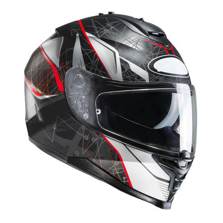 Black & Red Motorcycle Full Face Helmet Isolated on White Background. Fibreglass Scooter Helmet. Sport Touring Motorbike Helmet. Protective Equipment. Modern Headgear
