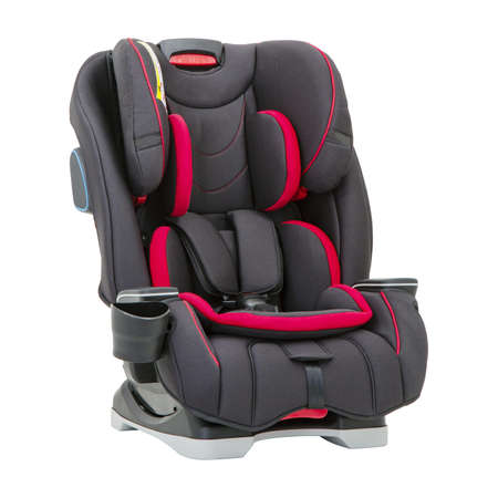 Black and Red Child Safety Seat Isolated on White Background. Front Side View of Modern Soft Baby Restraining Car Seat. Babies Side Impact Protection Infant Restraint System