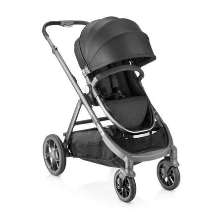 Black Stroller Isolated on White Background. Side View of Baby Transport with Canopy and Swivel Front Wheels. Infant Carriage Seat. Travel System. Pushchair or Pram with Adjustable Showerproof Hood