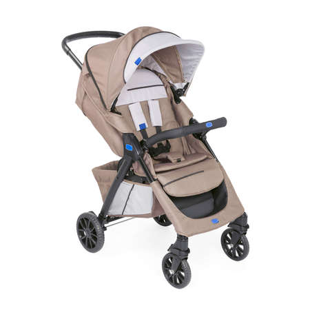 Brown Stroller Isolated on White Background. Side View of Baby Transport with Canopy and Swivel Front Wheels. Infant Carriage Seat. Travel System. Pushchair or Pram with Adjustable Showerproof Hood
