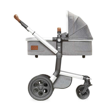Gray Stroller Isolated on White. Baby Transport with Swivel Wheels and Canopy. Side View of Pushchair or Carrycot. Infant Carriage Seat. Travel System or Pram