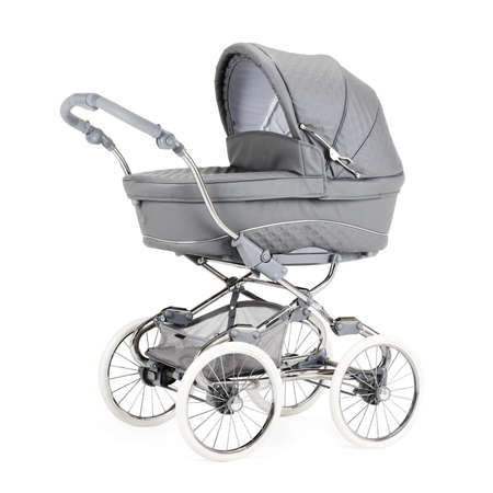 Gray Retro Vintage Pushchair Isolated on White. Classic Travel System. Pram with Raincover & Lie-Flat Seat. Baby Transport with Large Wheels and Canopy. Modern Stroller Carrycot. Infant Carriage Seat Stok Fotoğraf