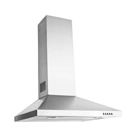 Range Hood Isolated on White Background. Island Ventilation. Stainless Steel Cooking Canopy. Front View of Fume Extractor. Electric Chimney. Kitchen and Domestic Major Appliances