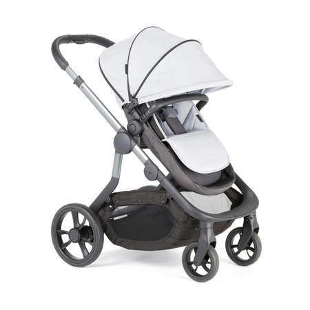 White Stroller Isolated on White Background. Side View of Baby Transport with Canopy and Swivel Front Wheels. Infant Carriage Seat. Travel System. Pushchair or Pram with Adjustable Showerproof Hood