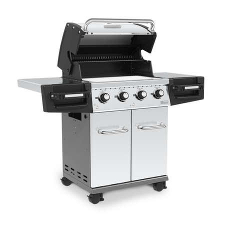 BBQ Grill with Food Isolated on White Background. Stainless Steel and Black Barbecue Grillware Gas Grill. Outdoor Cooking Station. Outdoor Major Kitchen Appliances. Outdoor Grill Table