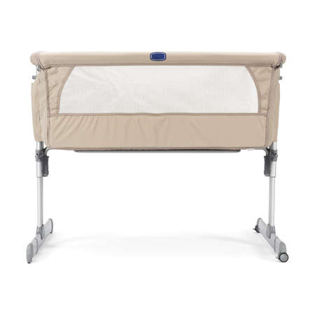 Beige Travel Cot Isolated on White. Extra Bed for Newborns & Babies. Modern Playpen with Soft Mattress. Nursery & Baby Furniture Sets Front View. Baby Hug. Portable Co-Sleeping Cribs & Cradles
