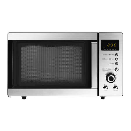 Microwave Oven Isolated on White Background. Stainless Steel Over-The-Range Microwave Grill 23L 800W with Control Lockout Option. Domestic Electric Kitchen Small Appliances Front View Imagens