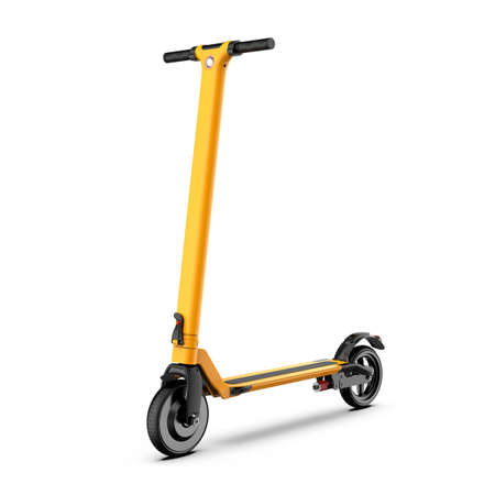 Orange Kick Scooter Isolated on White. Modern Adult Two-Wheeled Push Scooter Side View. Personal Transport with 2 Two Wheels. Human Powered Street Vehicle with Step-Through Frame &  Handlebar Stock Photo