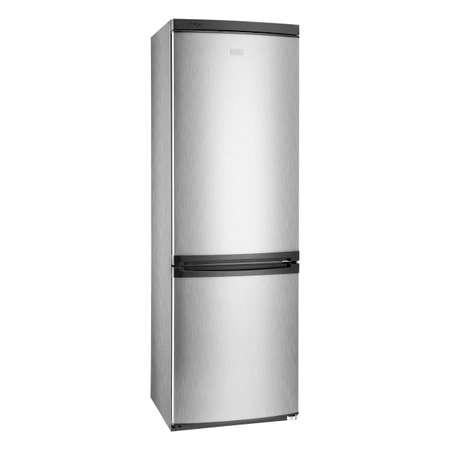 Refrigerator Isolated on White Background. Bottom Mount Fridges Freezer. Electric Kitchen & Domestic Major Appliances. Front Side View of Stainless Steel Two Door Bottom-Freezer Fridge Freezer