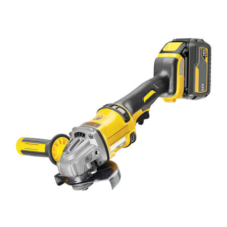 Yellow Single Speed Angle Grinder Isolated. Portable Cordless Battery-Powered Handheld Electric Power Tool for Cutting, Grinding Job Side Top View. Cut-Off Tool Kit Lithium-Ion Battery Brushless Motor 写真素材