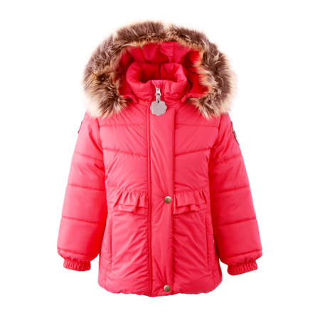 Girls Red Winter Jacket Isolated on White. Women's Water Resistant Hooded Ski Clothing Wear. Zipper Pullover Winter Coat with Adjustable Fur Hood. Warm Hoodie Outwear Cotton Windproof Fabric