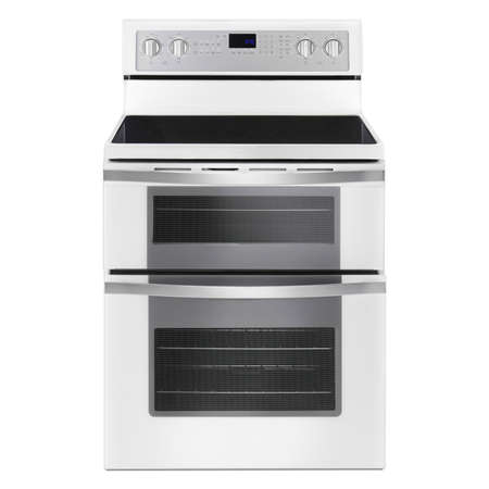 Electric Double Oven Range Isolated. Gas Stove with Warming Drawer. Front View White 6.7 cu. ft. Range Cooker. Convection Stove with Four Burner Induction Cooktop. Major Kitchen & Domestic Appliances