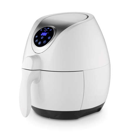 Air Fryer Isolated. White Electric Deep Fryer Side & Front View. Modern Domestic Household & Electric Small Kitchen Appliances. 1500 Watts Convection Oven & 2.5 Liter Capacity Oilless Cooker
