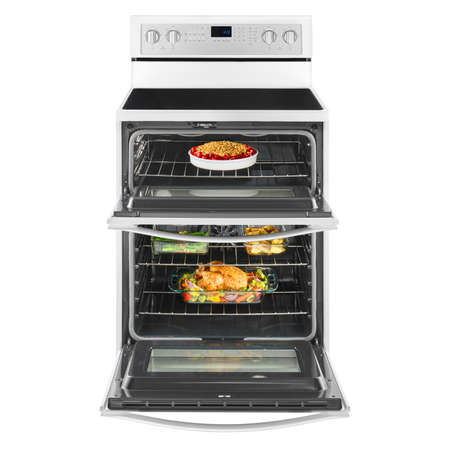 Open Electric Double Oven Range Isolated. Gas Stove with Warming Drawer. Front View White 6.7 cu. ft. Range Cooker. Convection Stove Four Burner Induction Cooktop. Major Kitchen & Domestic Appliances Stock Photo