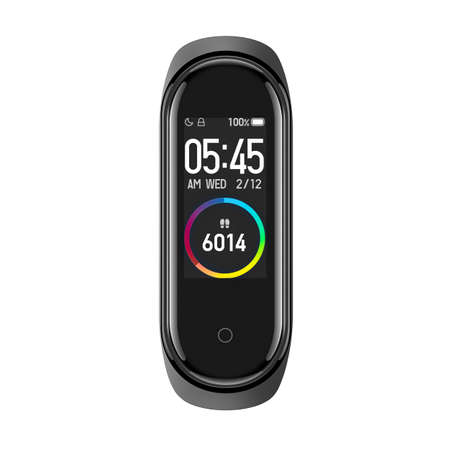 Active & Swim Smart Tracker Watch Isolated on White. Black Sports Fitness Fitnessband with Heartrate Monitor Sensor. Front View Modern Track Activity Accessories Wristband Watch Amoled Touch Display