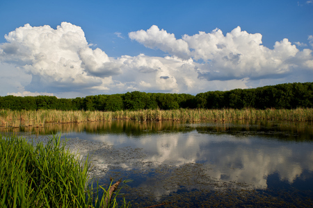 The blue sky and clouds are reflected in the calm waters of the lake Stockfoto