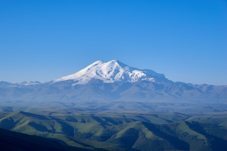 View of Mount Elbrus from the Bermamyt plateau. Stock Photo