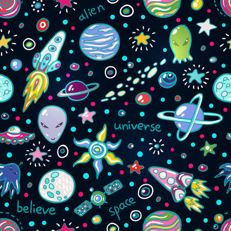 sun energy: Cute Space seamless pattern. Funny background for kids who love outer space and adventure. Illustration