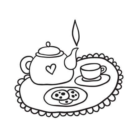 Cute Tea Set Outline Illustration Ilustrace