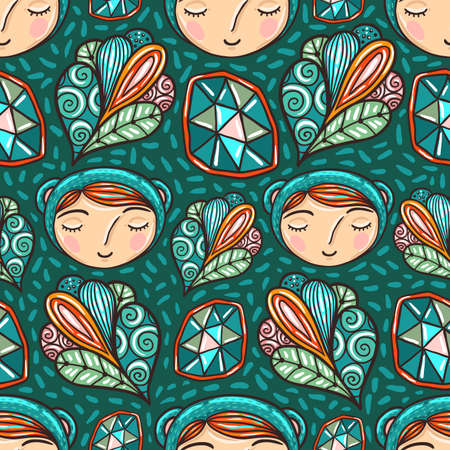 beautiful eyes: Cool kids seamless pattern with magic crystals and abstract bubbles. Illustration