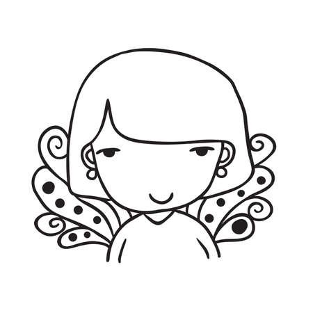 earrings: Portrait of Cute little girl with purple hair. Vector outline illustration.