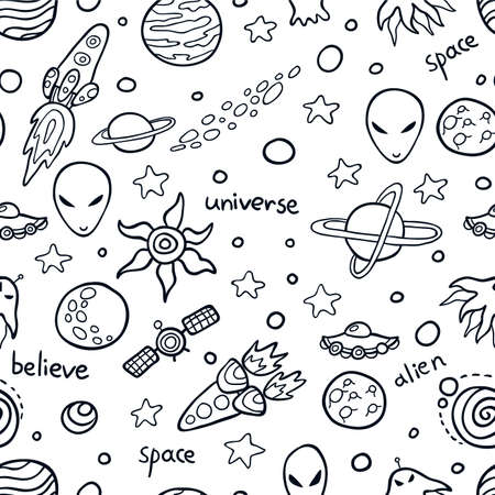 cartoon alien: Cute Space seamless pattern. Funny background for kids who love outer space and adventure. Illustration