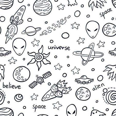 estrella caricatura: Espacio lindo patr�n transparente. Fondo divertido para los ni�os que aman el espacio exterior y la aventura.