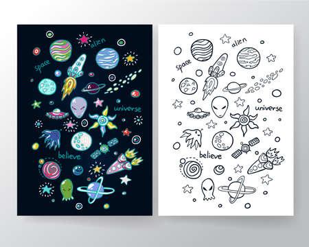 star cartoon: Espacio conjunto linda. Ilustración divertida para los niños que aman el espacio exterior y la aventura.