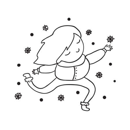 seasons cartoon: My first snow outline children illustration. Black and white contour.