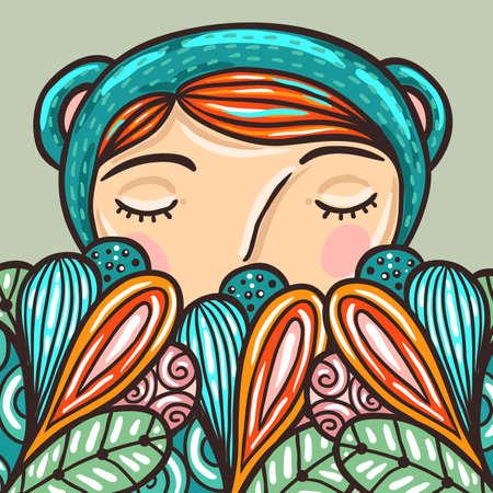 dreaming girl: Cute Little Girl hiding and dreaming illustration.