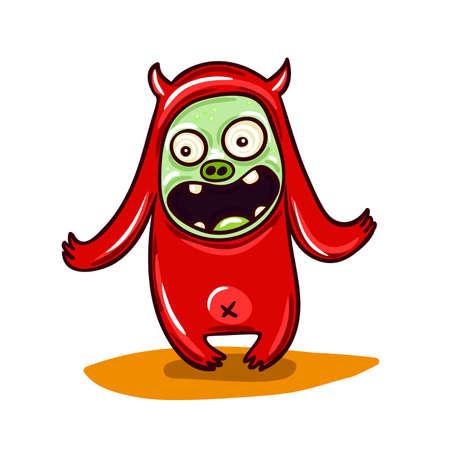 stupid: Cute little red monster illustration. Stupid cheerful creature.